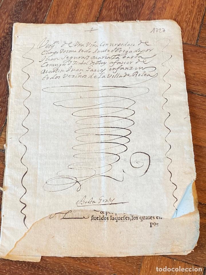 Manuscritos antiguos: BOLEA, HUESCA.1682. VENTA DE UNA VIÑA. IMPRESO Y MANUSCRITO. FIRMA NOTARIO DE BOLEA. - Foto 2 - 286959008
