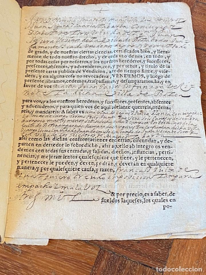 Manuscritos antiguos: BOLEA, HUESCA.1682. VENTA DE UNA VIÑA. IMPRESO Y MANUSCRITO. FIRMA NOTARIO DE BOLEA. - Foto 3 - 286959008
