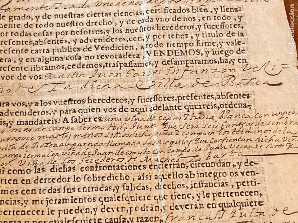 Manuscritos antiguos: BOLEA, HUESCA.1682. VENTA DE UNA VIÑA. IMPRESO Y MANUSCRITO. FIRMA NOTARIO DE BOLEA. - Foto 4 - 286959008