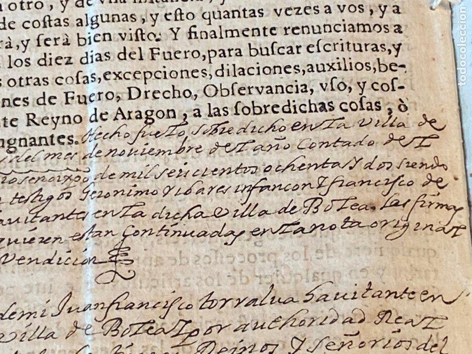 Manuscritos antiguos: BOLEA, HUESCA.1682. VENTA DE UNA VIÑA. IMPRESO Y MANUSCRITO. FIRMA NOTARIO DE BOLEA. - Foto 6 - 286959008