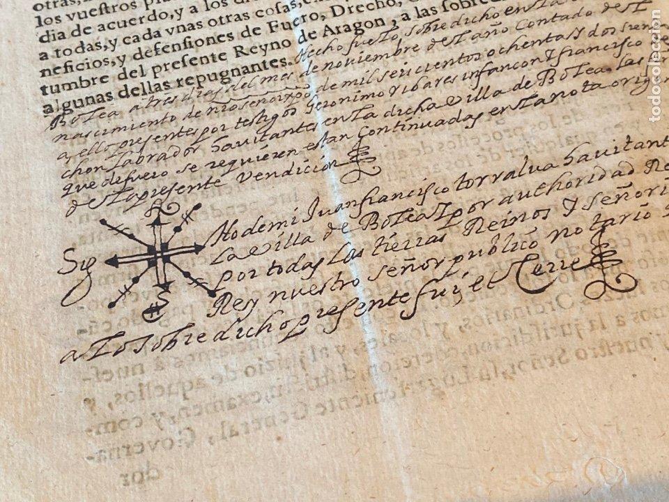 BOLEA, HUESCA.1682. VENTA DE UNA VIÑA. IMPRESO Y MANUSCRITO. FIRMA NOTARIO DE BOLEA. (Coleccionismo - Documentos - Manuscritos)