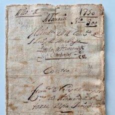 Manuscritos antiguos: ESCRITURA DE COMPRA MÁLAGA , ALHAURIN DE LA TORRE , 1750 ,. Lote 287858568