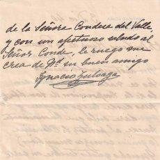 Manuscritos antiguos: CARTA MANUSCRITA CON FIRMA DEL PINTOR IGNACIO ZULOAGA. SR, OLAVARRIA. ZUMAYA VERGARA. CONDESA VALLE.. Lote 287859243