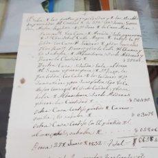 Manuscritos antiguos: MANUSCRITO VALOR PROPIEDADES DE JUANA GONZÁLEZ MUJER DE JUAN DE LA CRUZ MORA LORCA MURCIA 1832 S XIX. Lote 287988293