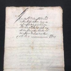 Manuscritos antiguos: MANUSCRITO 1747 VENTA EN LA BISBAL DEL PENEDÈS MIQUEL JANER. VER FOTOS.. Lote 288207863