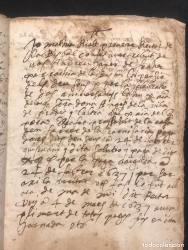Manuscritos antiguos: MANUSCRITO LEGAJO DE 1635 PAGOS DE UN PAYES DE LA BISBAL DEL PENEDÈS.TARRAGONA. - Foto 3 - 288684713