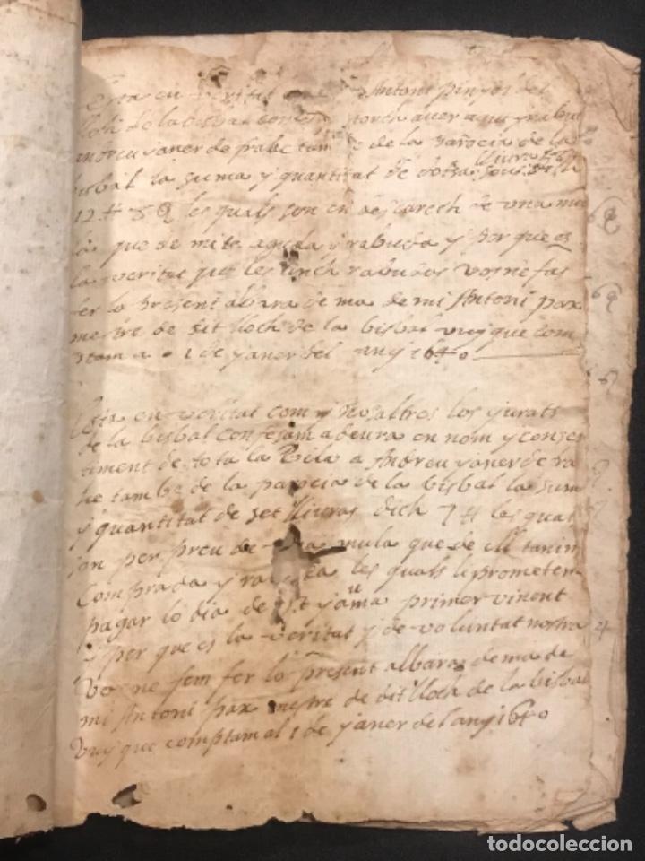 Manuscritos antiguos: MANUSCRITO LEGAJO DE 1635 PAGOS DE UN PAYES DE LA BISBAL DEL PENEDÈS.TARRAGONA. - Foto 6 - 288684713