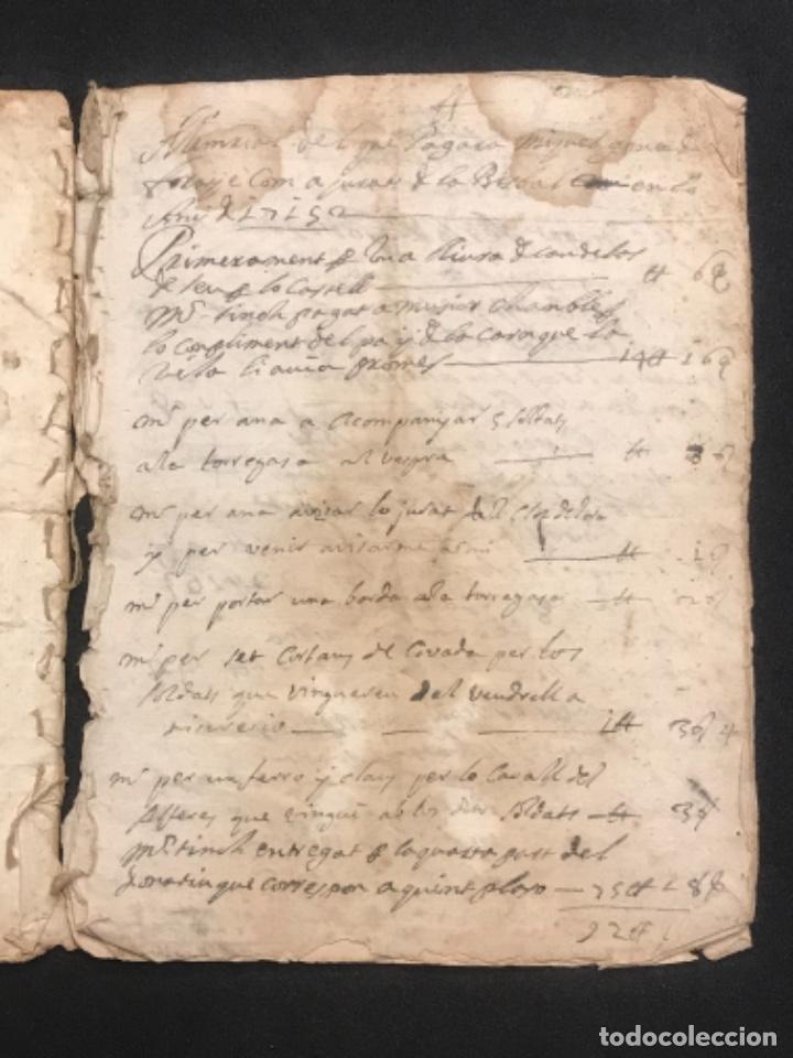 Manuscritos antiguos: MANUSCRITO LEGAJO DE 1635 PAGOS DE UN PAYES DE LA BISBAL DEL PENEDÈS.TARRAGONA. - Foto 7 - 288684713