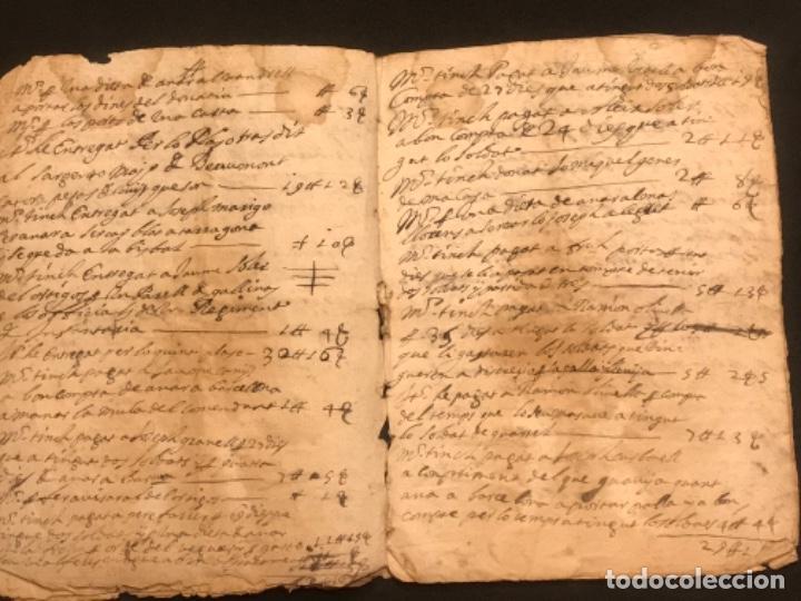 Manuscritos antiguos: MANUSCRITO LEGAJO DE 1635 PAGOS DE UN PAYES DE LA BISBAL DEL PENEDÈS.TARRAGONA. - Foto 8 - 288684713