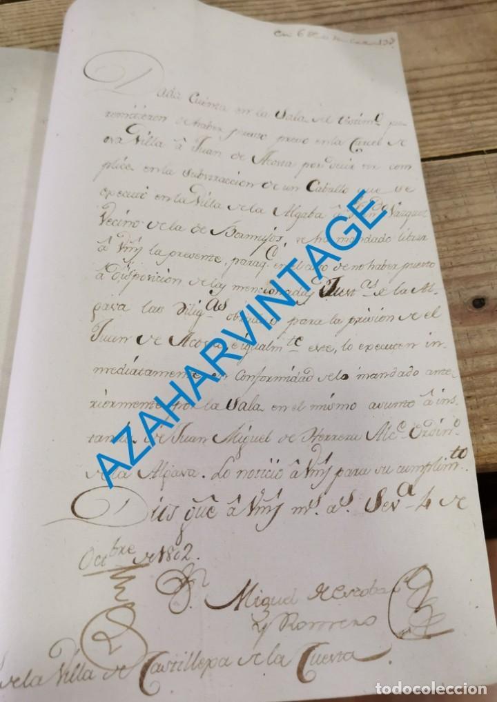 SEVILLA, 1802, ORDEN INGRESO EN PRISION A COMPLICE ROBO DE UN CABALLO EN LA ALGABA, 1 PAGINA (Coleccionismo - Documentos - Manuscritos)