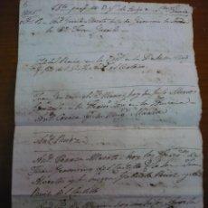 Manuscritos antiguos: MANUSCRITO FALLECIDOS SANTA URSULA,1805. TENERIFE. CANARIAS.42´5 CM X 31 CM.PAPEL HILO. Lote 289569113