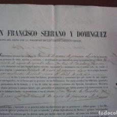 Manuscritos antiguos: GENERAL FRANCISCO SERRANO Y DOMINGUEZ.REGENTE,GINES DE PAREDES Y CHACÓN1870.HABANA.TENERIFE.CANARIAS. Lote 289579713