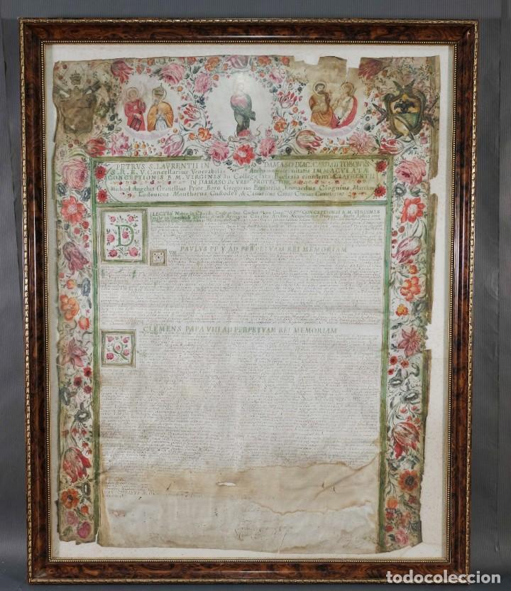 DOCUMENTO MANUSCRITO EN LATÍN PINTADO SOBRE VITELA PAULUS PP V, CLEMENS PAPA VIII - SIGLO XVI-XVII (Coleccionismo - Documentos - Manuscritos)