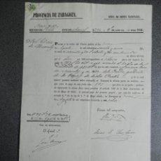 Manuscritos antiguos: MANUSCRITO AÑO 1858 PAGARÉ DESAMORTIZACIÓN NUEVALOS ZARAGOZA. Lote 289595608
