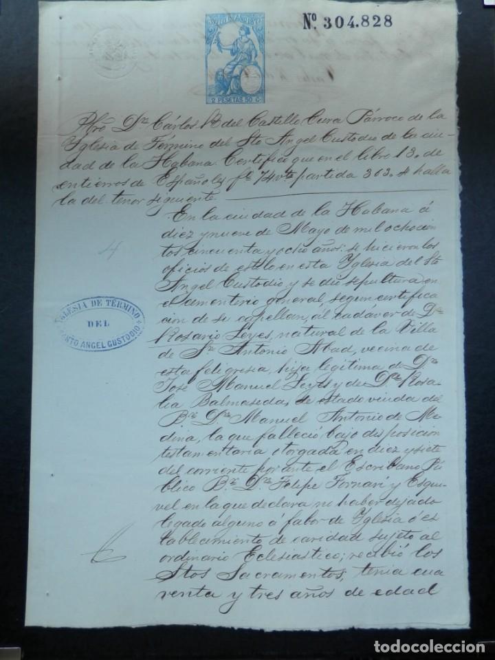 ESCLAVITUD CUBA MANUSCRITO AÑO 1872 ENTIERRO DE ESPAÑOLES FISCAL 8º (Coleccionismo - Documentos - Manuscritos)