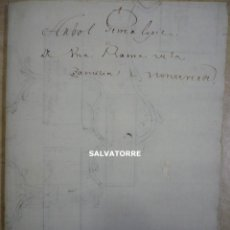 Manuscritos antiguos: MANUSCRITO GENEALOGIA. ARBOL GENEALÓGICO RAMA APELLIDO MONTEVERDE.TENERIFE.CANARIAS.ORIGINAL EPOCA. Lote 289767638