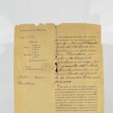 Manuscritos antiguos: DOCUMENTO DE COMANDANCIA MILITAR, JULIO DE 1939, CONCESIÓN DE PASAPORTE. 21,5X15,5CM. Lote 289822378