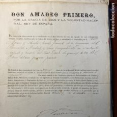 Manuscritos antiguos: FIRMA REAL. PRIM. AMADEO I. NOMBRAMIENTO MILITAR. SAN HERMENEGILDO. MEDALLA ALFONSO XII. Lote 289876423