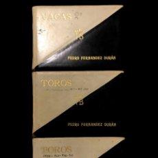 Manuscritos antiguos: TAUROMAQUIA Y GANADERÍA. TRES LIBROS DE REGISTROS DE LA GANADERÍA DE PEDRO FERNÁNDEZ DURÁN. 1930-37. Lote 290074108