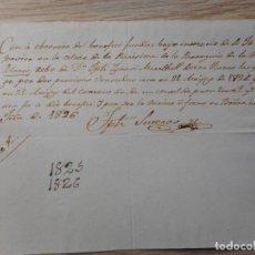 Manuscritos antiguos: ANTIGUO RECIBO MANUSCRITO.PARROQUI VILLA DE BLANES.GERONA 1826.IGNACI MIRALBELL.. Lote 290100083