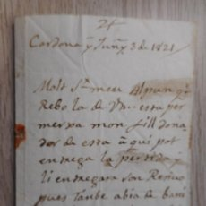 Manuscritos antiguos: ANTIGUA CARTA MANUSCRITA.MIQUEL LOPEZ COLL-JOSEPH IGNASI SOLÉ.CARDONA 1821. Lote 290117273