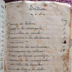 Manuscritos antiguos: LIBRETA CON RECETAS CULINARIAS. REUS (TARRAGONA), PRINCIPIOS DE SIGLO XX.. Lote 291935878