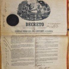 Manuscritos antiguos: DOCUMENTO ESCLAVOS DECRETO ABOLICION ESCLAVITUD 102 CUBA 1868 FIRMA CARLOS MANUEL CESPEDES ORIGINAL. Lote 292346798
