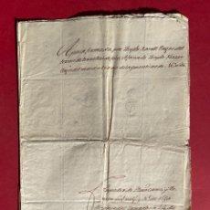 Manuscritos antigos: 1814 - PAGO DE DOTE - VILAFRANCA DEL PENEDES - FAMILIAS ROSELL Y FERRER. Lote 293793288