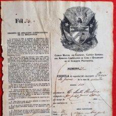 Manuscritos antiguos: DOCUMENTO ESCLAVOS Nº 2 CUBA 1868 CEDULA DE SEGURIDAD DE EMANCIPADO C M CESPEDES ORIGINAL. Lote 294018718
