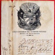 Manuscritos antiguos: DOCUMENTO ESCLAVOS Nº 2 CUBA 1868 CARTA DE LIBERTAD C M CESPEDES ORIGINAL. Lote 294019333