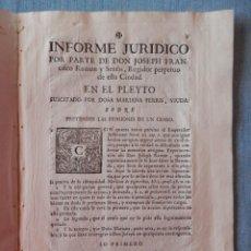 Manuscritos antiguos: VALENCIA SIGLO XVII PARROQUIAL DE SANTA CRUZ BONITO INFORME JURÍDICO REGIDOR DE VALENCIA SOBRE CENSO. Lote 294557258