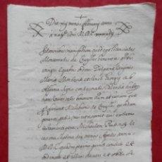 Manuscritos antiguos: MANUSCRITO AÑO 1647 NAVAJAS CASTELLÓN APOCA EN FAVOR CONDE VILLAFRANQUESA. Lote 294571498