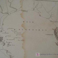 Mapas contemporáneos: ZX BAHIA DE ALGECIRAS GIBRALTAR* NAVIOS GUERRA NAPOLEONICA * CA 1850 * MAPA GRABADO AL ACERO * . Lote 23987150