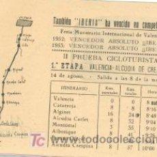Mapas contemporáneos: PROSPECTOS SE ETAPAS II PRUEBA CICLOTURISTA 1952-3..........PROPAGANDA RADIO IBERIA . Lote 14703480