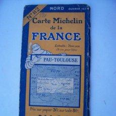 Mapas contemporáneos: CARTE MICHELIN DE LA FRANCE, Nº82 PAU-TOULOUSE, 1924. Lote 20599992