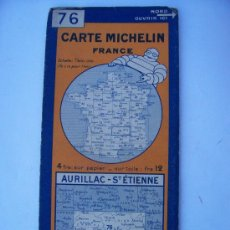 Mapas contemporáneos: CARTE MICHELIN DE LA FRANCE, Nº76 AURILLAC-ST.ETIENNE, 1928. Lote 20599991