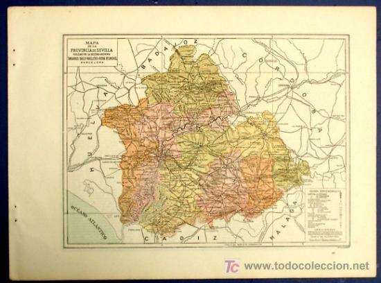 Provincia De Sevilla Mapa.Mapa De La Provincia De Sevilla Publicado Por Anuarios Bailly Baillere Y Riera Barcelona 1930