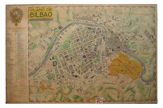 PLANO ANTIGUO DE BILBAO (Coleccionismo - Mapas - Mapas actuales (desde siglo XIX))