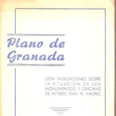 Mapas contemporáneos: PLANO DE GRANADA CON INDICACIONES SOBRE LA SITUACION DE LOS MONUMENTOS... 195?. 48 X 70 CM.. Lote 14814454