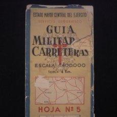 Mapas contemporáneos: GUIA MILITAR DE CARRETERAS. SERVICIO GEOGRAFICO. ESCALA 1:400.000. HOJA 5. Lote 22734551