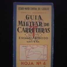 Mapas contemporáneos: GUIA MILITAR DE CARRETERAS. SERVICIO GEOGRAFICO. ESCALA 1:400.000. HOJA 4. Lote 22761053