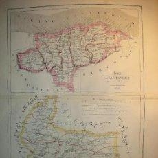 Mapas contemporáneos: MAPA ANTIGUO VALLADOLID SANTANDER 1853 . Lote 7421608