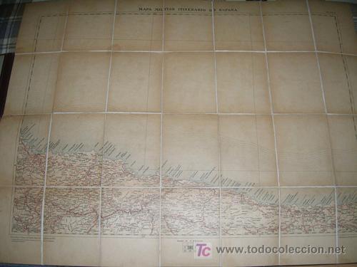MAPA MILITAR ITINERARIO ESPAÑA ENTELADO PROVINCIAS DE ASTURIAS, SANTANDER (NORTE) AÑO 1912 - Nº 4 (Coleccionismo - Mapas - Mapas actuales (desde siglo XIX))