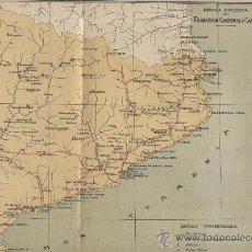 Mapas contemporáneos: MAPA. PUBLICAT L' ANY 1913. CATALUNYA ROMANA. POBLACIONS AMB RESTES ROMANES. MONEDES.. Lote 24089002
