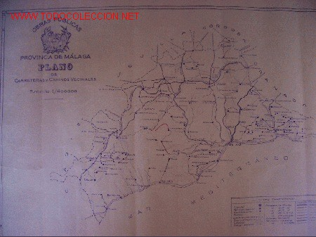 MALAGA. PLANO DE CARRETERAS Y CAMINOS VECINALES. (Coleccionismo - Mapas - Mapas actuales (desde siglo XIX))