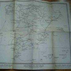 Mapas contemporáneos: PLANO DE ESPAÑA- CARRETERAS Y VÍAS FERROVIARIAS.. Lote 26576024