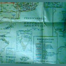 Mapas contemporáneos: MAPA DE LOS FERROCARILES DE LA REPUBLICA ARGENTINA. Lote 25919735
