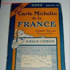 Mapas contemporáneos: CARTE MICHELIN DE LA FRANCE - AURILLAC - ST. ETIENNE - MICHELIN - Nº 76 - AÑO 1927 APROXIMADAMENTE . Lote 2095916