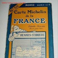 Mapas contemporáneos: CARTE MICHELIN DE LA FRANCE - RENNES - ST. BRIEUC - MICHELIN - Nº 59 - AÑO 1927 APROXIMADAMENTE - M. Lote 2095940