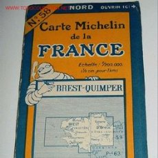 Mapas contemporáneos: CARTE MICHELIN DE LA FRANCE - BREST - QUIMPER - MICHELIN - Nº 58 - AÑO 1927 APROXIMADAMENTE - MAPA . Lote 2095942